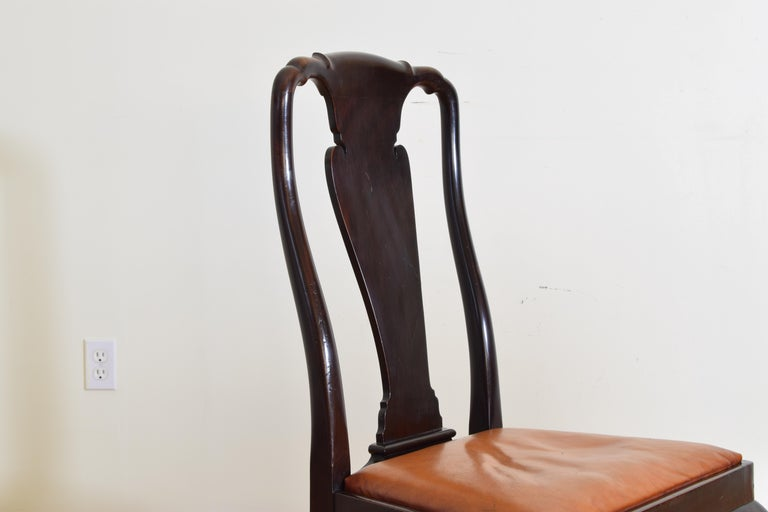 Set of 6 English Mahogany and Leather Upholstered Dining Chairs, circa 1900 For Sale 6