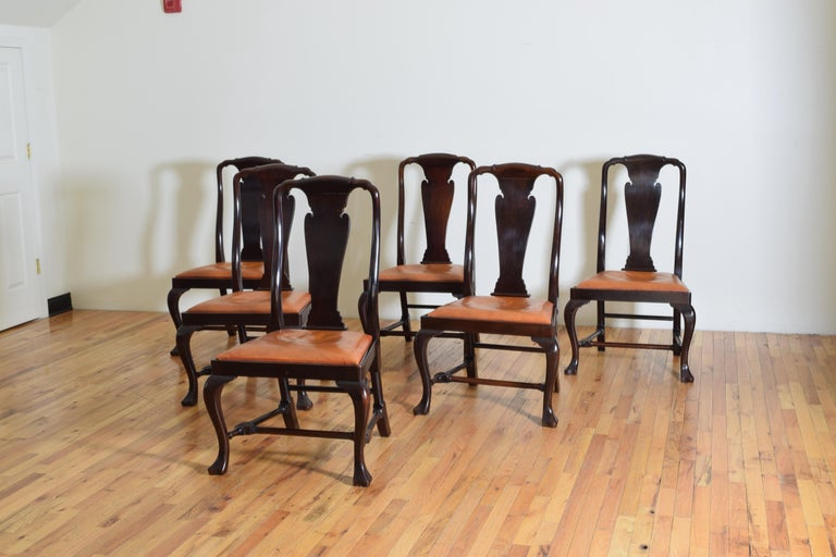 Set of 6 English Mahogany and Leather Upholstered Dining Chairs, circa 1900 In Good Condition For Sale In Atlanta, GA