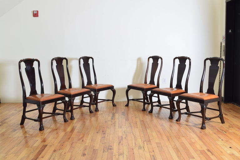 20th Century Set of 6 English Mahogany and Leather Upholstered Dining Chairs, circa 1900 For Sale