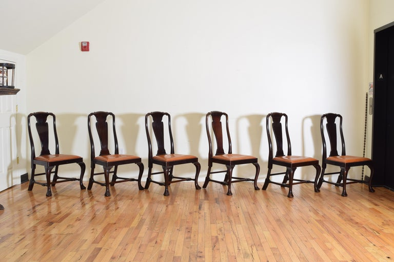 Set of 6 English Mahogany and Leather Upholstered Dining Chairs, circa 1900 For Sale 1