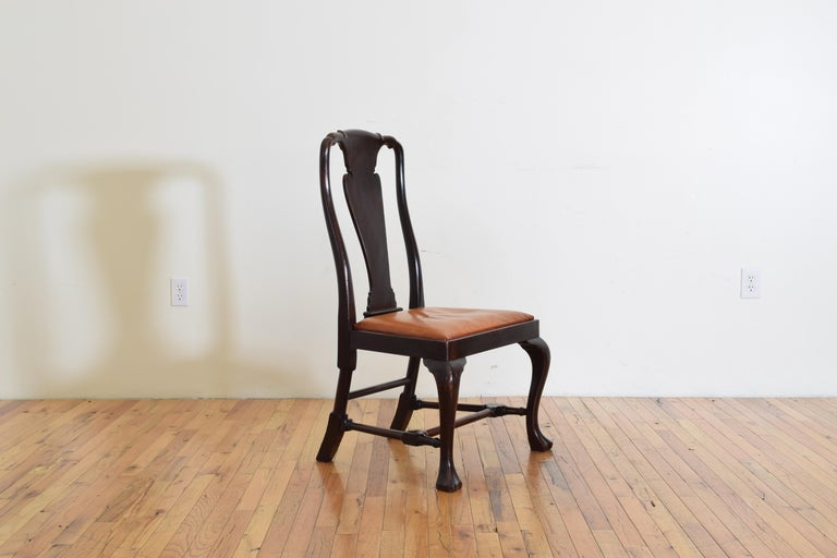 Set of 6 English Mahogany and Leather Upholstered Dining Chairs, circa 1900 For Sale 2