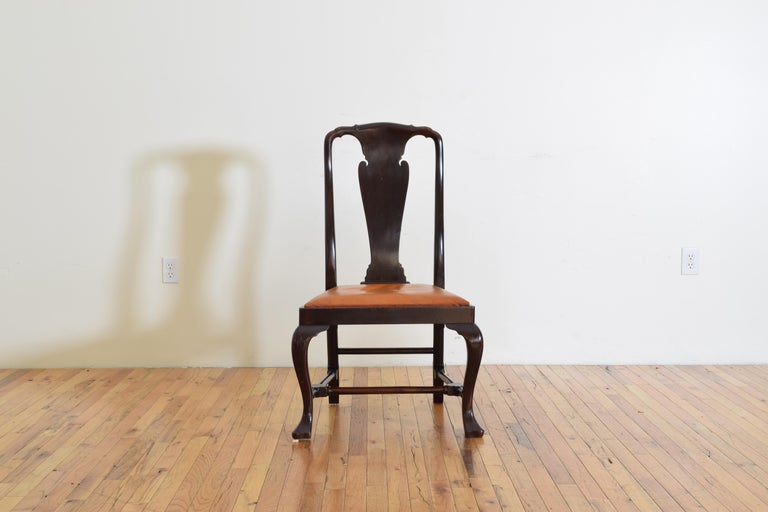 Set of 6 English Mahogany and Leather Upholstered Dining Chairs, circa 1900 For Sale 3