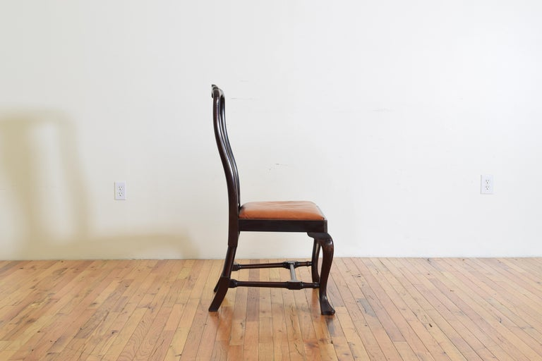 Set of 6 English Mahogany and Leather Upholstered Dining Chairs, circa 1900 For Sale 4