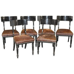 Set of 6 English Regency Style Cheetah Print Dining Side Chairs