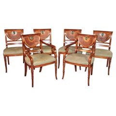 Set of 6 English Regency Style Walnut Dining Chairs