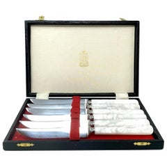 Set of 6 English Stainless Steel & Mother of Pearl Steak Knives in Original Box