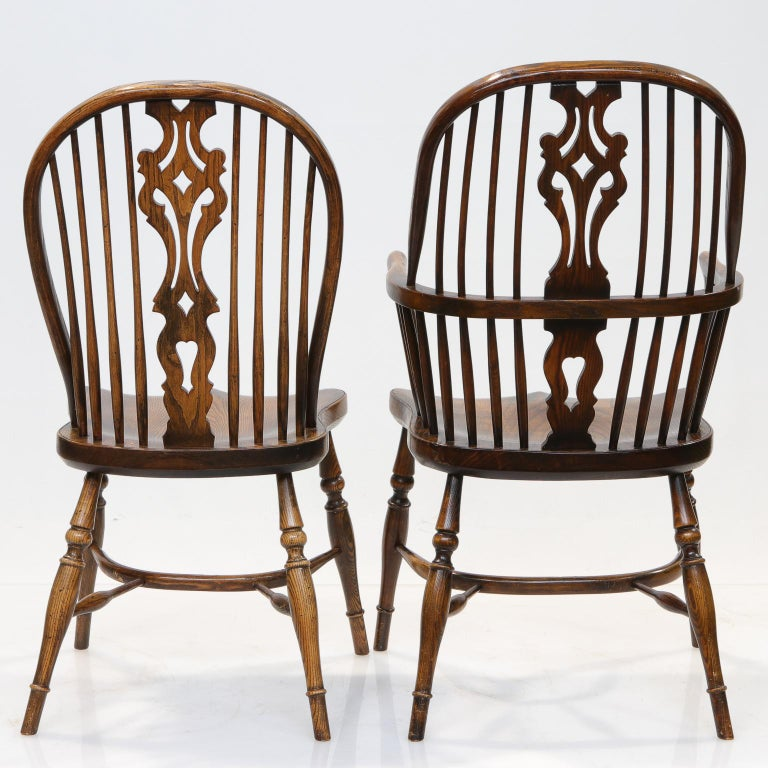 Woodwork Set of 6 English Windsor Dining Chairs For Sale