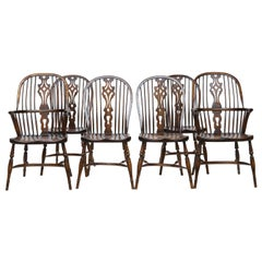 Set of 6 English Windsor Dining Chairs