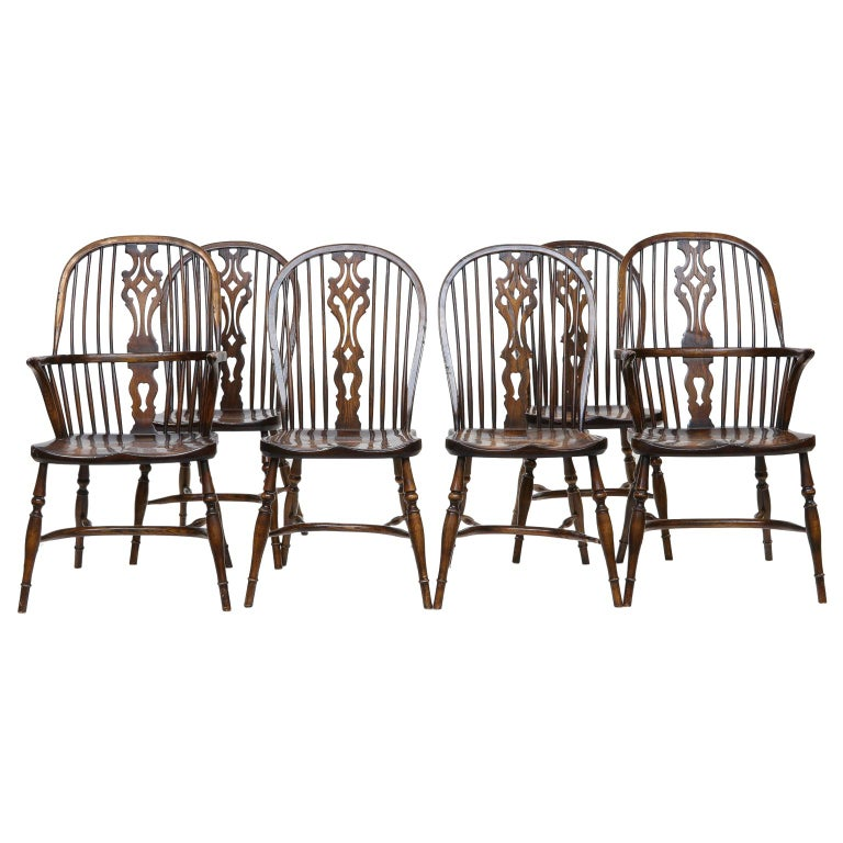 Set of 6 English Windsor Dining Chairs For Sale