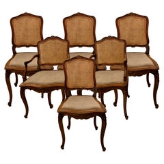 Set of 6 Estate French Hand-Carved Walnut and Cane-Back Dining Chairs Circa 1940