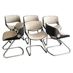 Set of 6 Etienne Fermigier Chairs Fully Restored, 1970