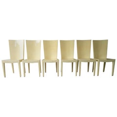 Set of 6 Eugenio Escudero Attrib. Clear Lacquered Natural Goatskin Dining Chairs