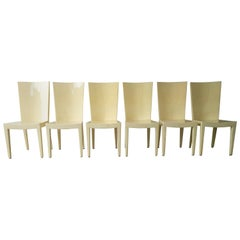 Set of 6 Eugenio Escudero Attrib Clear Lacquered Natural Goatskin Dining Chairs