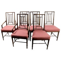 Set of 6 Faux Bamboo Dining Chairs in the style of McGuire