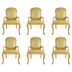 Set of 6 Faux Tobacco Finish Dining Chairs