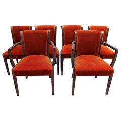 Set of 6 Fine French Art Deco Mahogany and Rosewood Chairs '4 Side and 2 Arm'