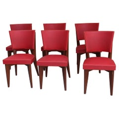 Set of 6 Fine French Midcentury Oak Chairs