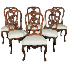 Set of 6 Finely Carved Walnut Italian Provincial Dining Chairs, circa 1920