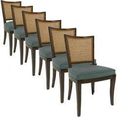 Set of 6 Forward Trend for Johnson Bert England Cane Back Dining Side Chairs