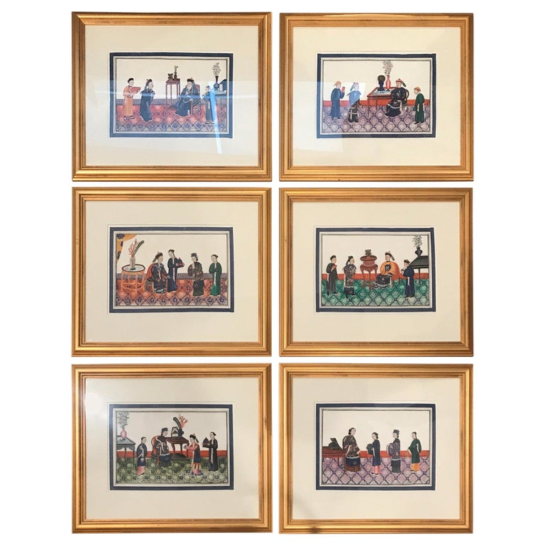 Set of 6 Framed Gouache Paintings on Pith Paper, China, 1850 For Sale