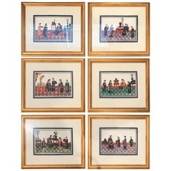 Set of 6 Framed Gouache Paintings on Pith Paper, China, 1850