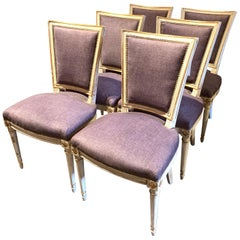 Set of 6 French 1940s Jansen Style Lacquered Dining Chairs