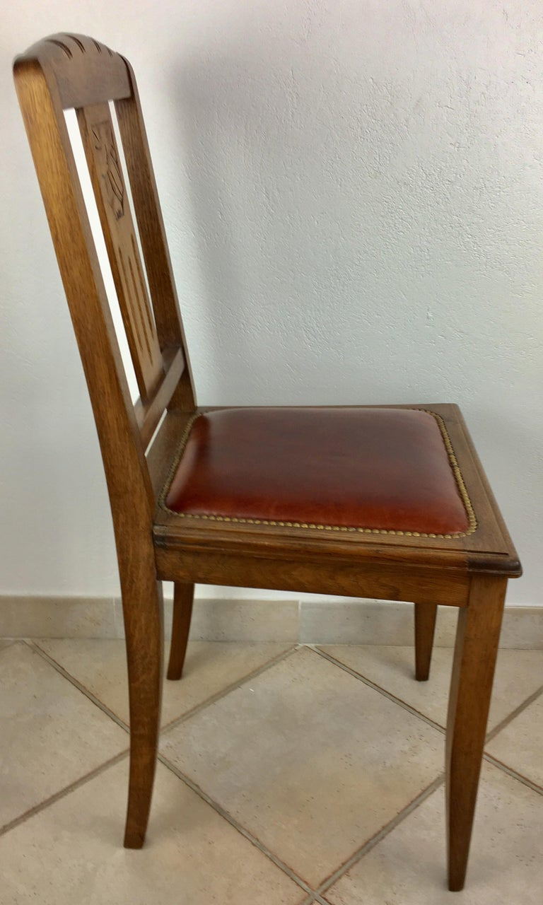 Leather Set of 6 French 1925 Art Deco Oak Dining Chairs with Carved Backs For Sale