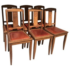 Set of 6 French Art Deco Oak Dining Chairs with Carved Backs