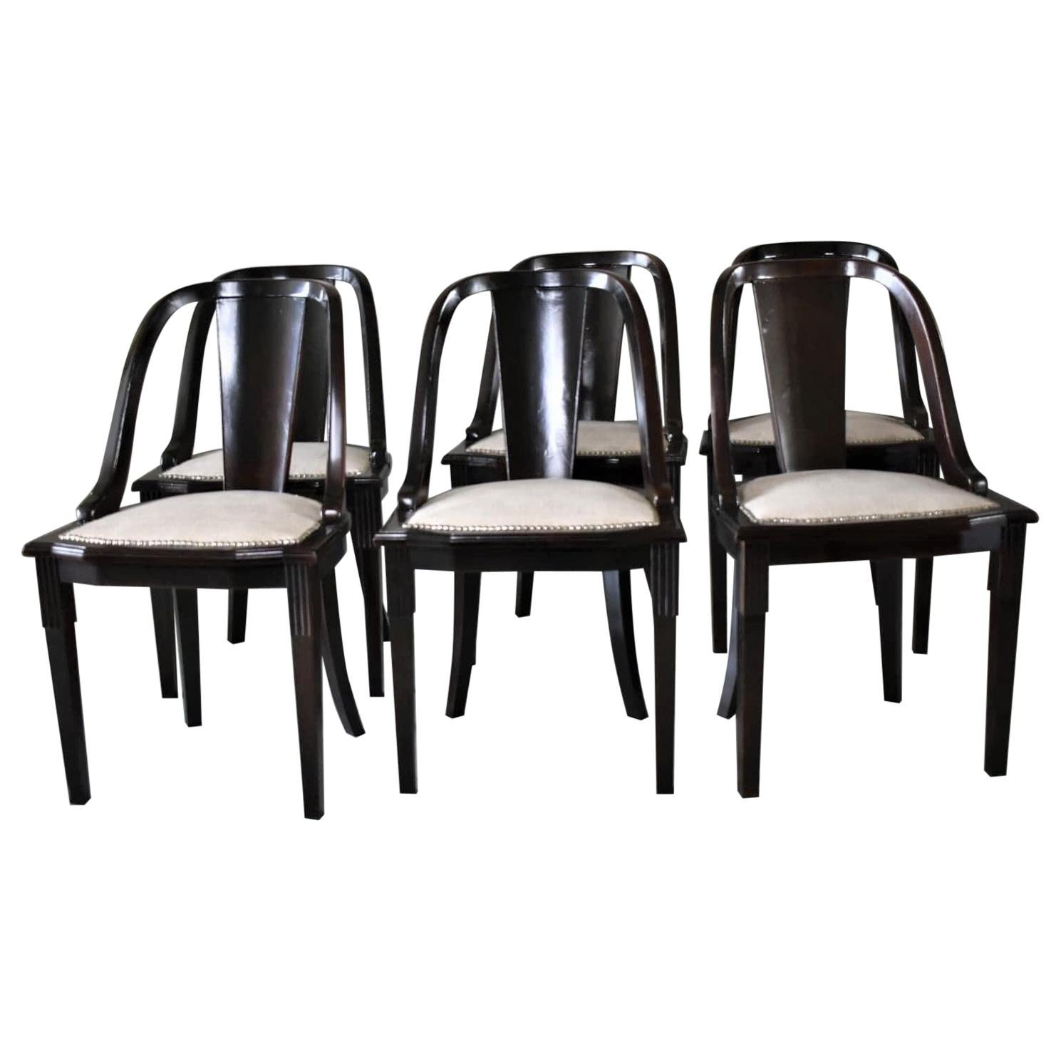 """Set of 6 French Art Deco """"Gondola"""" Dining Chairs, 1930s"""