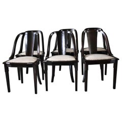 "Set of 6 French Art Deco ""Gondola"" Dining Chairs, 1930s"