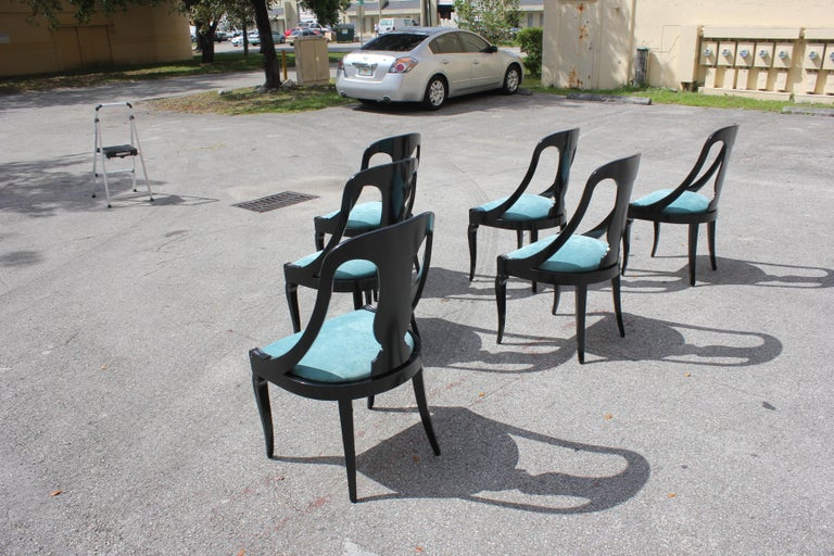 """Set of 6 French Art Deco """"Gondola"""" Dining Chairs, 1940s For Sale 5"""