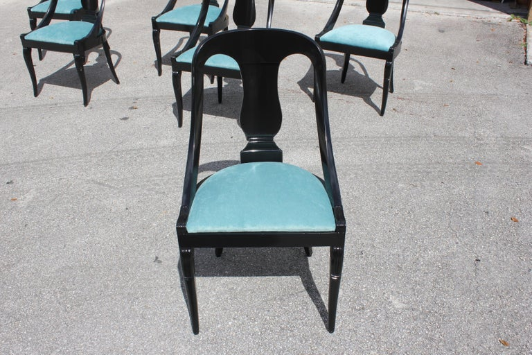 """Set of 6 French Art Deco """"Gondola"""" Dining Chairs, 1940s For Sale 6"""