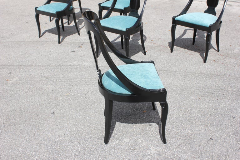 """Set of 6 French Art Deco """"Gondola"""" Dining Chairs, 1940s For Sale 7"""