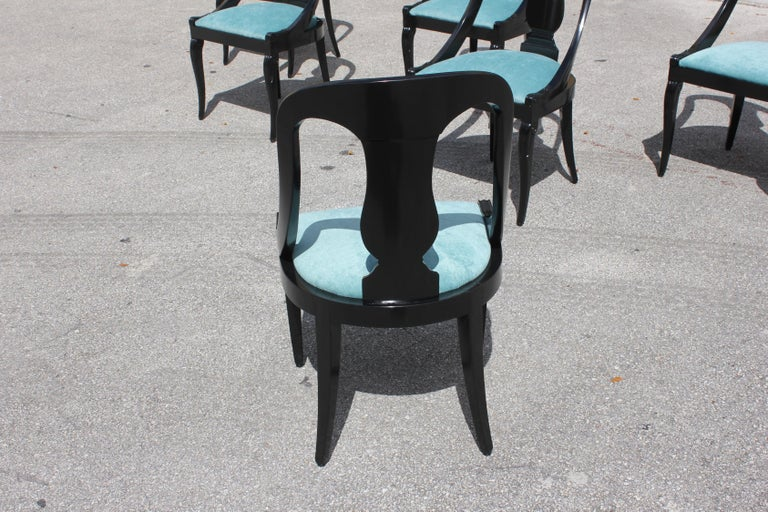 """Set of 6 French Art Deco """"Gondola"""" Dining Chairs, 1940s For Sale 8"""