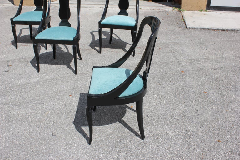 """Set of 6 French Art Deco """"Gondola"""" Dining Chairs, 1940s For Sale 9"""