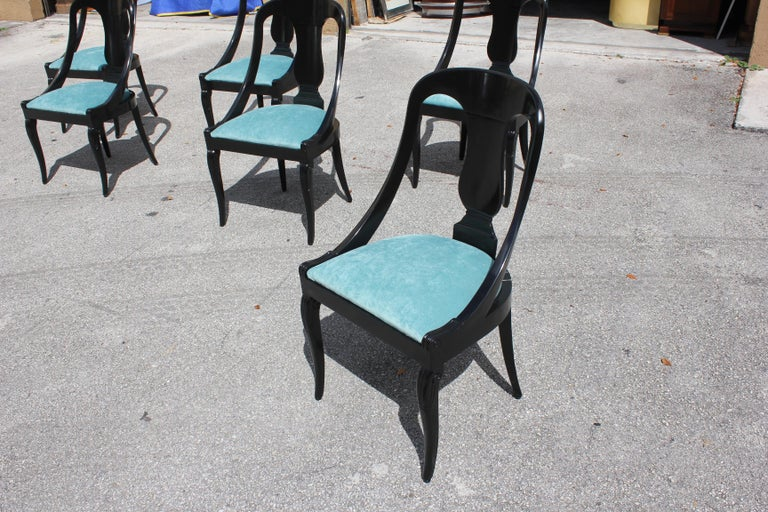 """Set of 6 French Art Deco """"Gondola"""" Dining Chairs, 1940s For Sale 10"""