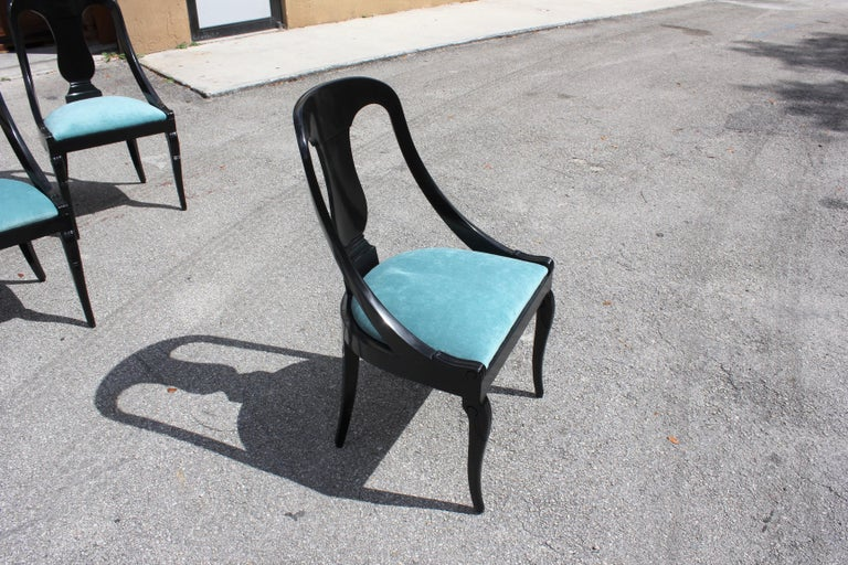 """Set of 6 French Art Deco """"Gondola"""" Dining Chairs, 1940s For Sale 13"""