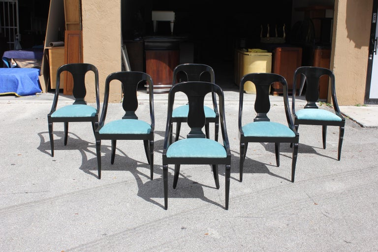 """Set of 6 French Art Deco """"Gondola"""" Dining Chairs, 1940s For Sale 14"""