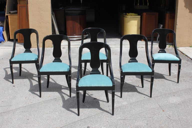 """Set of 6 French Art Deco """"Gondola"""" Dining Chairs, 1940s In Good Condition For Sale In Hialeah, FL"""