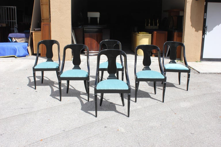 """Set of 6 French Art Deco """"Gondola"""" Dining Chairs, 1940s For Sale 1"""