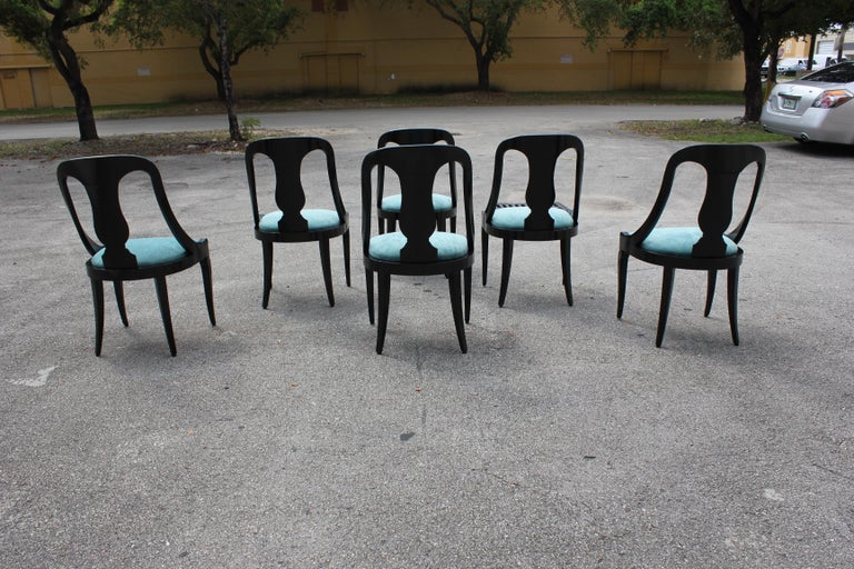 """Set of 6 French Art Deco """"Gondola"""" Dining Chairs, 1940s For Sale 2"""
