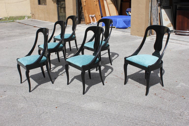 """Set of 6 French Art Deco """"Gondola"""" Dining Chairs, 1940s For Sale 3"""