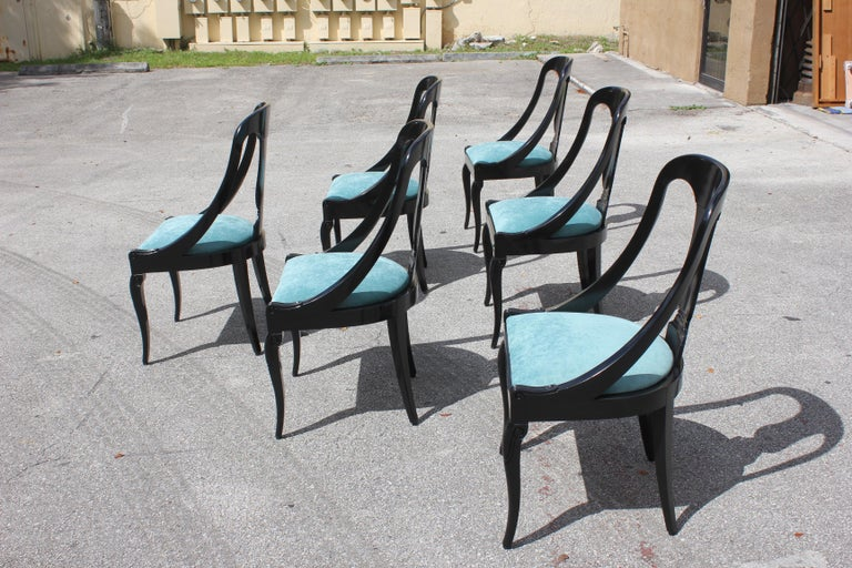 """Set of 6 French Art Deco """"Gondola"""" Dining Chairs, 1940s For Sale 4"""