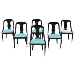 "Set of 6 French Art Deco ""Gondola"" Dining Chairs, 1940s"