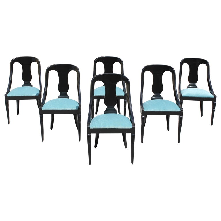 """Set of 6 French Art Deco """"Gondola"""" Dining Chairs, 1940s For Sale"""