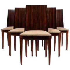 Set of 6 French Art Deco Macassar Ebony Dining Chairs, c.1930