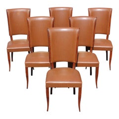 Set of 6 French Art Deco Mahogany Dining Chairs, 1940s
