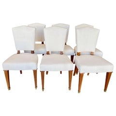 Set of 6 French Art Deco Mahogany Side Chairs