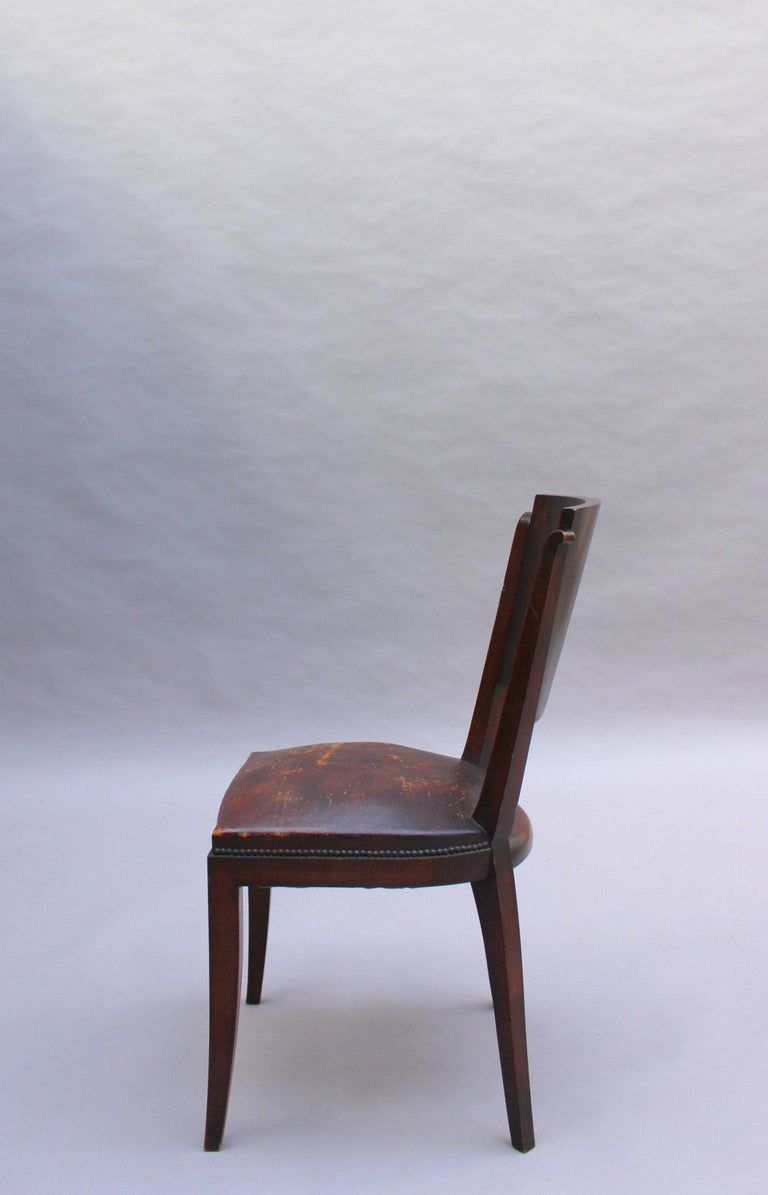 Set of 6 French Art Deco Palissander and Stained Wood Dining Chairs For Sale 6