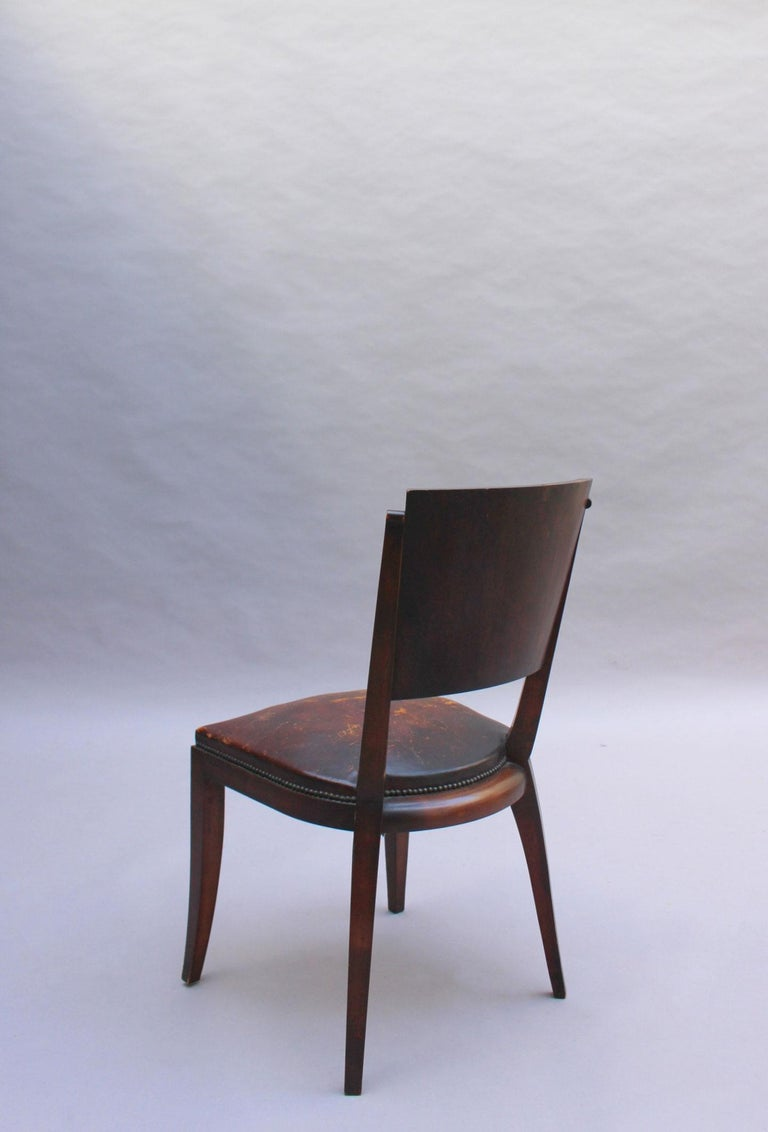 Set of 6 French Art Deco Palissander and Stained Wood Dining Chairs For Sale 7